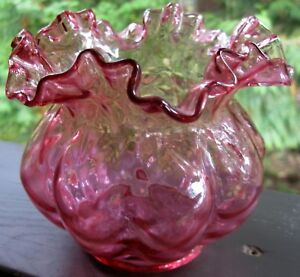 Antique Cranberry Glass Rose Bowl Vase Vintage Crimped Rim Beautiful