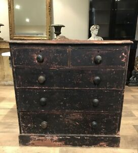 Victorian Chest Of Drawers With Distressed Paint