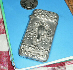 Antique Art Nouveau Sterling Silver Match Safe Holder Vesta Case