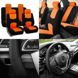 Full Cover Set Bucket Covers Solid Bench Orange W silicone Steering Cover