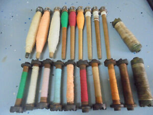 Antique Textile Mill Sewing Spindles Bobbins Spools Thread Yarn Primitive Lot Z