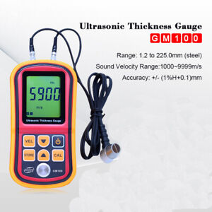 Lcd Digital Ultrasonic Thickness Gauge Depth Width Sound Velocity Tester Meter