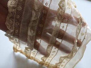 Antique French Lace Fragment Ruffles Dolls Lawn Salvage Remnant Trims Aa