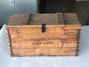 Vintage Antique Gramophone Records Wooden Crate W Lid Hong Kong Shipping 1930 S