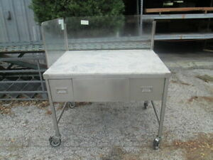 48x36 Stainless Food Prep Table W Poly Work Top Splash Guards W Drawers