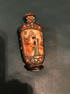 Antique Chinese Tibet Carved Snuff Bottle Turquoise Coral Stones Early 1900 S