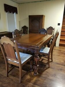 Antique Thomasville Dining Room Set Table 6 Chairs Cabinet Carved Pecan Wood