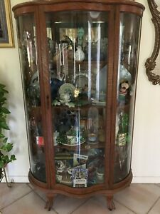 1880 S Curved Glass Cabinet Made From Oak Wood Very Good Condition