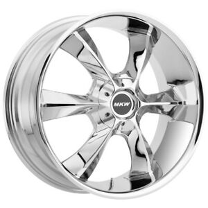 4 New 22 Inch Mkw M119 22x9 6x139 7 6x5 5 18mm Chrome Wheels Rims