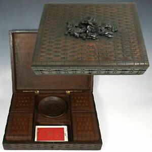 Antique Black Forest Wood Hand Carved Games Box Full Of Poker Chips Player Cards