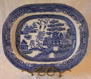 Antique Blue Willow Ironstone Platter 14 X 10 Transferware Mid 1800 S
