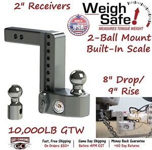 Ws8 2 Weigh Safe 2 Receiver Adjustable Ball Mount Hitch With 8 Drop 9 Rise