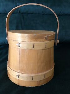 Vintage Wooden Firkin Sugar Bucket With Swing Handle And Lid 6 1 4 Tall