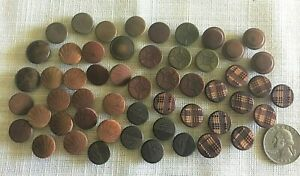 Antique Lot 46 Fancy Patterns Vegetable Ivory Buttons Sets Dyed Beauties