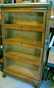 Antique Lundstrom Barrister Sectional Bookcase Plus Drawer Base Pickup 42001