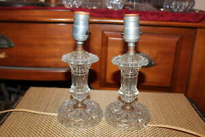 Vintage Pair Boudoir Table Lamps Glass Nightstand Lamps Small Size Lamps