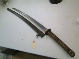 Wwii Japanese Officers Samurai Sword Signed With Unscabbard Old Long Blade W10