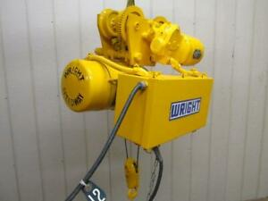 Wright Speedway 4232 Electric Cable Wire Rope Hoist 1 2 Ton W power Trolley