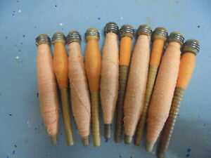 Lot A 10 Anti Vint Textile Mill Sewing Spindles Bobbins Spools With Thread