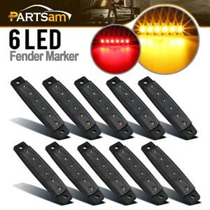 5amber 5red 3 8 Smoked Thin Line Trailer Led Side Marker Clearance Lights 6 Led