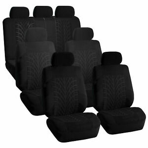Black Travel Master 3 Row Van Seat Covers Fit 4 Bucket 1 Bench Seats