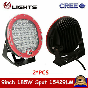 1x 9 Inch 185w Round Led Driving Spot Light Drl Arb Replace Offroad Red 4wd Us