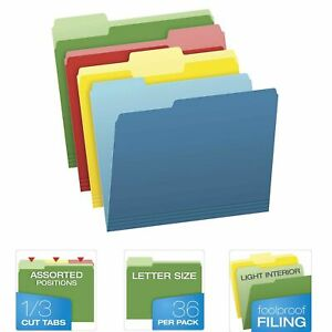 36 Pack Pendaflex File Folders Letter Size Two Tone Assorted Colors 1 3 Cut Tabs