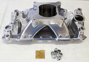 sale Sbc Small Block Chevy High Rise Polished Aluminum Intake Manifold 350 383