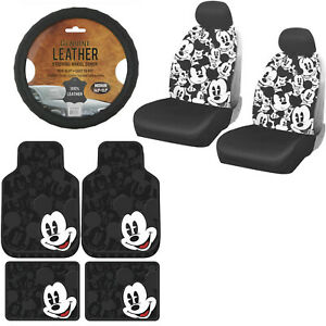 11pc Disney Mickey Mouse Car Truck Floor Mats Seat Covers Steering Wheel Cover