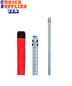 Telescopic 9ft Aluminum Contractor Grade Leveling Rod Tenths 10th Surveying