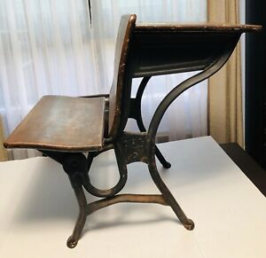 A S Co 2 Antique Children S Wood And Iron School Desk