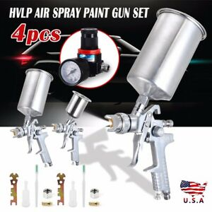 4 Pcs Spray Gun Kit Hvlp Gravity Feed 3 Guns Air Gauge 0 8mm 1 4mm 1 7mm