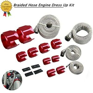 Braided Hose Red Stainless Steel Engine Dress Up Kit Radiator Vacuum Fuel Oil