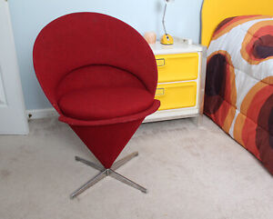 Mid Century Modern 1960s Verner Panton Cone Chair Vitri Red Space Age