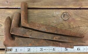 3 Antique Hand Forged Iron Pintles Hinge Pins Door Farm Gate Maine Salvage 2
