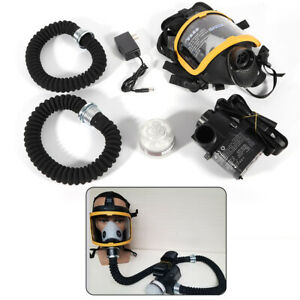 Electric Constant Flow Supplied Air Fed Respirator System Full Face Gas Mask New