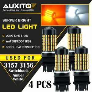 4x 3157 High Power White Amber Dual Color Switchback Led Turn Signal Light Bulbs