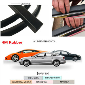 Universal 4m Black Window Door Glass Rubber Seal Weather Strip For Car Suv Truck