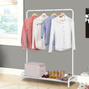 Adjustable Commercial Grade Rolling Garment Rack With Bottom Mesh Shelf Home New
