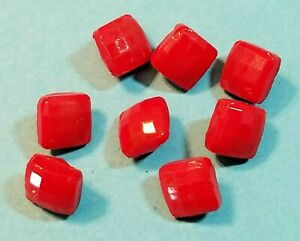 8 Antique Red Faceted Square Glass Vest Or Glove Buttons 1 4 Across