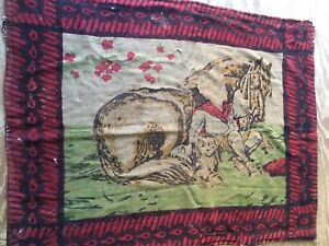 Antique Victorian Chase Carriage Lap Robe Buggy Blanket Horse Boy Dog