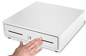 Hk Systems 13 Heavy Duty Compact White Manual Push open Cash Drawer With 4 Bill
