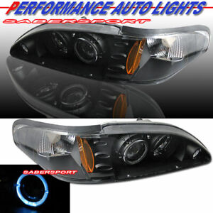 Set Of Pair Black Halo 1pc Style Projector Headlights For 1994 1998 Ford Mustang