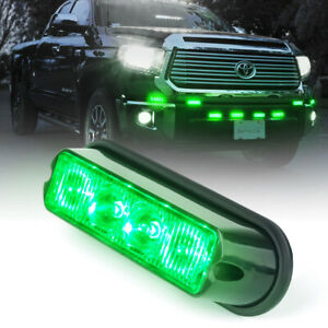 Xprite 4 Led Emergency Warning Strobe Lights Grille Side Marker Green Universal