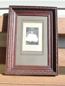 Antique Carved Wood Picture Frame With Glass Mat 21 X 15 W Cabinet Photo