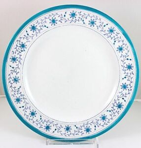 Set 2 Dinner Plates Antique Royal Crown Derby China Star Wreath Turquoise Blue