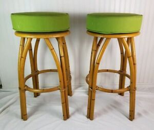 Heywood Wakefield Vintage Bar Stools Furniture Rattan Green Swivel Rare Labels