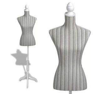 Ladies Bust Display Mannequin Linen With Stripes D7o6