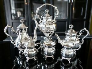 Silver Plate Tea Set Coffee Service Set With Tilting Pot Michael C Fina