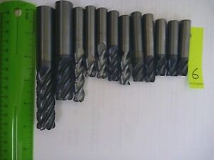 6 Lot 12 4 Lbs Of Used 3 4 1 2 3 4 5 flute Carbide End Mills Usa Scrap